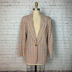 Requirements Blazer Pastel Plaid Linen Vintage